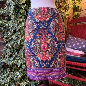 Multicolored Skirt with Back Slit